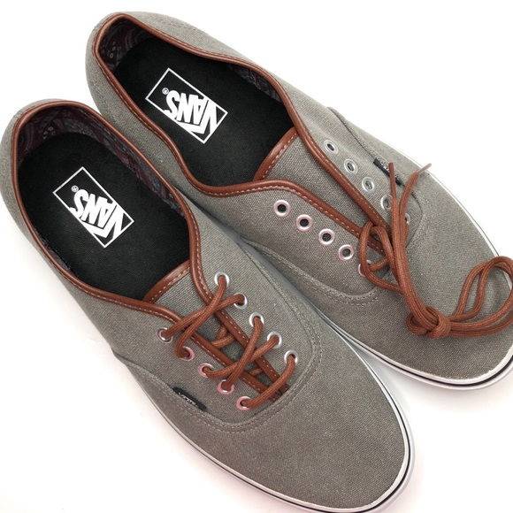 5ed35c79bf Vans Men s Authentic Leather Trim Lace Up Sneaker.  M 5beb7fb1194dadda5ea6afa6